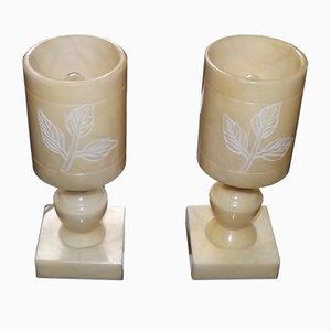Lampade da tavolo moderniste in alabastro, anni '60, set di 2