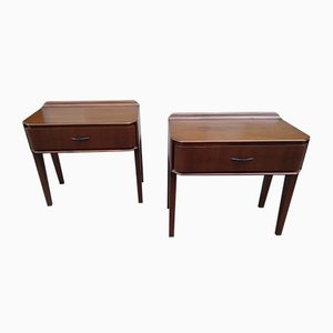Tables de Chevet Mid-Century en Bois, 1950s, Set de 2