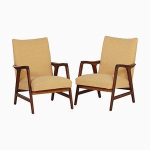Vintage Sessel mit gelbem Stoffbezug & Gestell aus Teak, 1960er, 2er Set