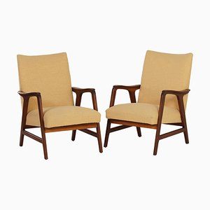 Vintage Teak and Yellow Fabric Lounge Chairs, 1960s, Set of 2