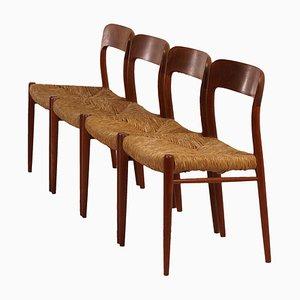 Sedie da pranzo nr. 75 di N.O.Moller per J.L. Møllers, Danimarca, anni '50, set di 4
