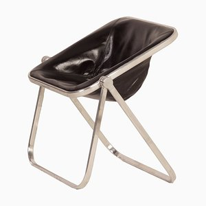 Black Leather Plona Chair by Giancarlo Piretti for Castelli, 1960s