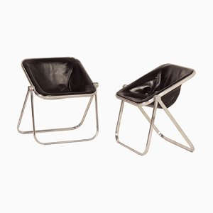 Plona Chairs in Black Leather by Giancarlo Piretti for Castelli, 1960s, Set of 2