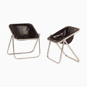 Plona Stühle mit schwarzer Lederbespannung von Giancarlo Piretti für Castelli, 1960er, 2er Set