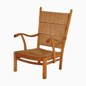 Oak Rush Chair with Curved Armrests, 1930s