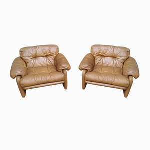 Leather Coronado Armchairs by Tobia & Afra Scarpa for Cassina, 1970s, Set of 2