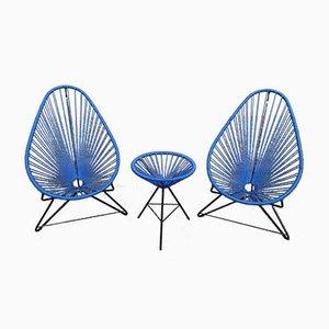Fauteuils Bleus Vintage avec Petite Table, 1920s