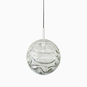 German Chrome & Glass Space Age Ball Ceiling Lamp from Doria Leuchten, 1970s