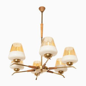 Brass, Bronze, and Teak Ceiling Lamp, 1960s