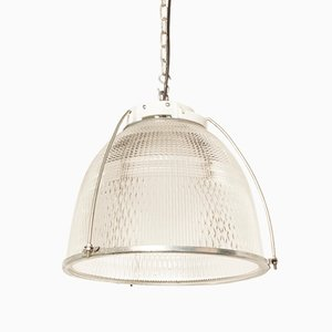 Industrielle Deckenlampe aus Glas & Porzellan, 1970er