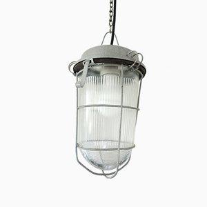 Deutsche Mid-Century Deckenlampe aus Glas & Eisen, 1950er