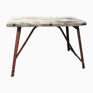French Iron and Oak Industrial Console Table, 1950s