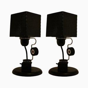 Lámparas de mesa de metal y cromo, años 80. Juego de 2