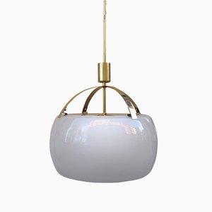Lampe à Suspension Omega en Laiton et Verre Imprimé par Vico Magistretti pour Artemide, 1960s