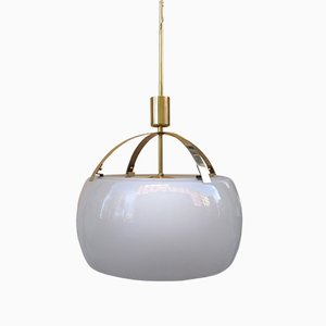 Omega Brass and Etched Glass Pendant by Vico Magistretti for Artemide, 1960s