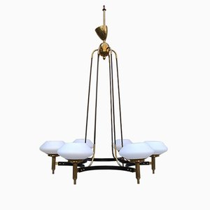 Mid-Century Brass Chandelier with 6 Opal Glass Shades, 1950s