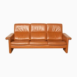 Brown Leather Three-Seater Couch, 1980s