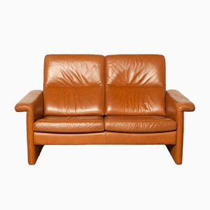 Brown Leather Two-Seater Couch, 1980s