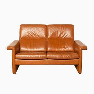 Sofá de dos plazas de cuero marrón, años 80