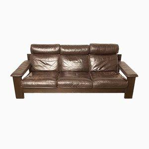 Sofá de cuero marrón de LeoLux, años 70