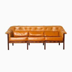 Light Brown Leather & Rosewood Couch by Arne Norell for Coja, 1960s