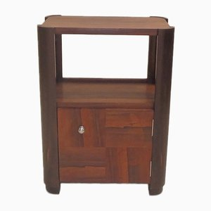 Art Deco French Brass, Nickel, & Brazilian Rosewood Nightstand, 1930s