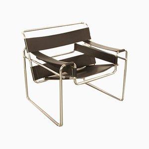 Modell Wassily Beistellstuhl mit Lederbespannung & Stahlgestell von Marcel Breuer, 1920er