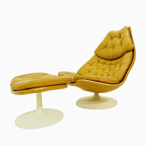 Leather F588 Lounge Chair & Ottoman Set by Geoffrey Harcourt for Artifort, 1970s