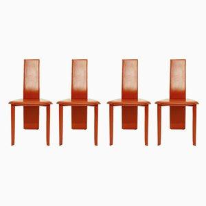 Chaises de Salle à Manger Vintage en Cuir, 1970s, Set de 4