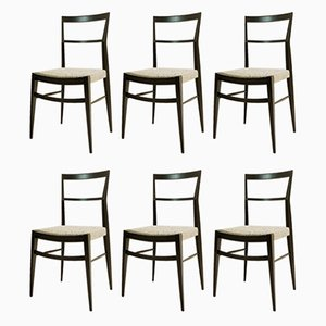 Italian Wooden Dining Chairs, 1950s, Set of 6