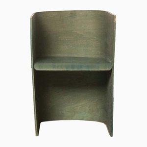 Handmade Green Bent Plywood Chair, 1920s