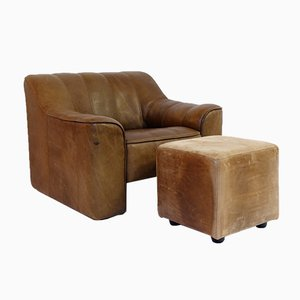 Leather DS44 Lounge Chair & Ottoman Set from de Sede, 1970s