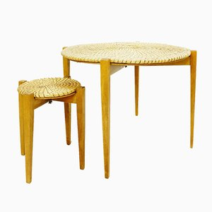 Wood and Straw Side Tables, 1970s, Set of 2