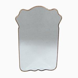Vintage Italian Brass Rimmed Mirror, 1950s