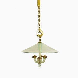 Lámpara de techo italiana vintage de vidrio y metal, años 70