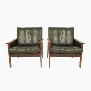 Mid-Century Leather & Rosewood Capella Chairs by Illum Wikkelsø for Niels Eilersen, Set of 2