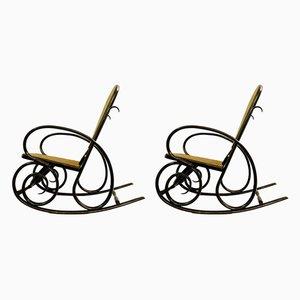 Rocking Chairs Vintage en Bois Courbé de Thonet, 1930s, Set de 2
