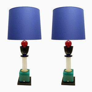 Lámparas de mesa vintage de cristal de Murano, años 70. Juego de 2