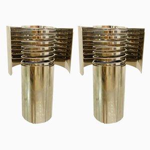 Lámparas de mesa de metal cromado, años 70. Juego de 2
