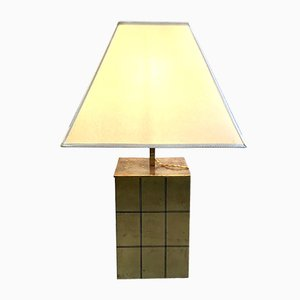 Italian Brass and Parchment Table Lamp by Romeo Rega, 1970s