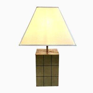 Lámpara de mesa italiana de latón y pergamino de Romeo Rega, años 70