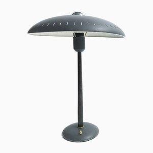 Lámpara de mesa de aluminio y hierro fundido de Louis C. Kalff para philips, años 50