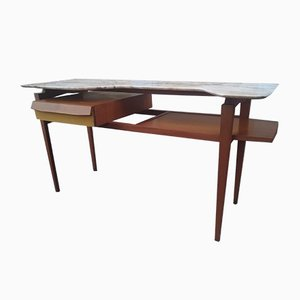 Mid-Century Schreibtisch mit Marmorplatte, 1950er