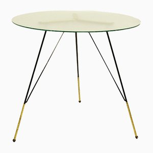 Vintage Italian Glass and Metal Tripod Coffee Table, 1970s