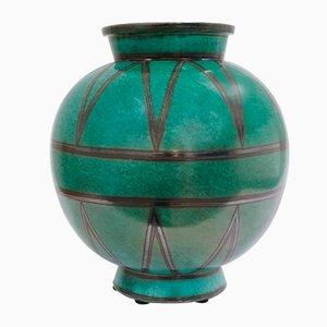 Schwedische Vintage Art Déco Keramikvase von Wilhelm Kåge für Gustavsberg