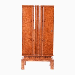Art Deco Lacquer and Walnut Cabinet, 1920s