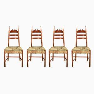 Chaises d'Appoint Mid-Century en Bois et Paille, 1950s, Set de 4