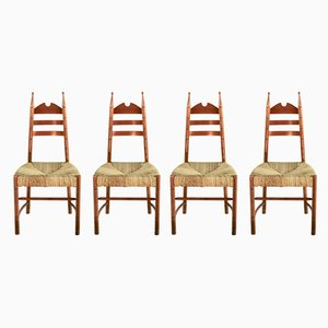 Mid-Century Wood & Straw Side Chairs, 1950s, Set of 4