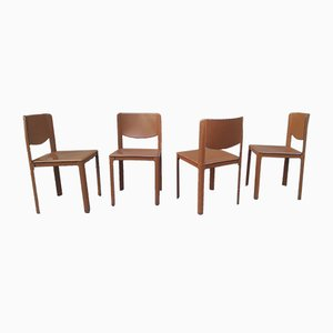 Leather and Wood Dining Chairs by Tito Agnoli for Matteo Grassi, 1980s, Set of 4