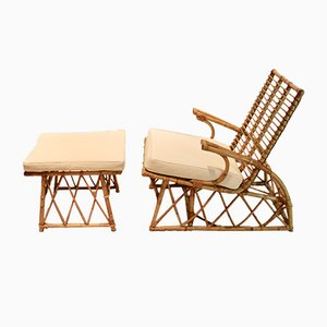 Mid-Century Bamboo Lounge Chair & Ottoman, 1960s
